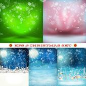 Christmas set, snowfall. EPS 10 — Vector de stock