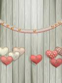 Red hearts hanging over old wood. EPS 10 — 图库矢量图片