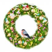 Green christmas wreath with decorations. EPS 10 — Vector de stock