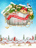Wooden banner with Christmas Fur-tree branches. — Stock Vector