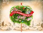 Christmas Bubble for speech - fir tree. EPS 10 — Stock Vector