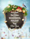 Houten banner met bont-kerstboom takken. — Stockvector