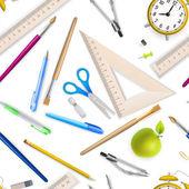 School supplies seamless pattern. EPS 10 — Stock Vector