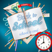 School supplies on blue background. EPS 10 — Stock Vector