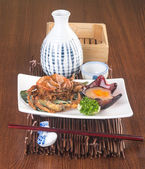 Japanese cuisine. crab on the background — Stockfoto