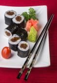 Japanese cuisine. sushi on the background — Stockfoto