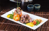 Japanese cuisine. beef cube on the background — Stok fotoğraf