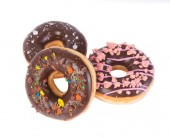 Chocolate donuts on a white background — Stock Photo