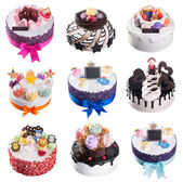 Cake. ice cream cakes collection on background — Photo