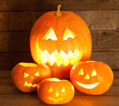 Halloween Jack-o-Lantern Pumpkins — Stock Photo