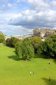 Princess Gardens and architecture, Edinburgh — Stock Photo