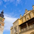 Cloth Hall  and  Old Town Hall  (Ratusz) at Main Market Square (Rynek Glowny) in Cracow , Krakow, Poland, Europe — Stock Photo #71647683