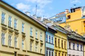 The old, historical tenements at the Old Market Square in Cracow, Poland — Stock Photo