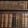 Old books in a wooden library — Stock Photo #62458603