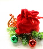 Christmas composition with holiday decorations and gifts — Stock Photo
