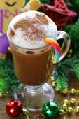 Festive drink (chocolate, cocoa, coffee) with milk foam, Christmas Still Life — Stock Photo