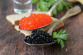 Traditional Russian delicacy red and black caviar — Stockfoto