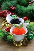 Festive appetizer delicacy red and black caviar, Christmas Still Life — Stock Photo