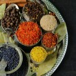 Collection of various spices (paprika, turmeric, pepper, aniseed, cinnamon, saffron) — Stock Photo #53065681