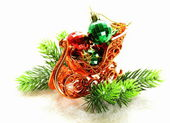 Christmas composition with holiday decorations and gifts — ストック写真