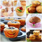 Set different homemade pastries muffins with berries — Stock Photo