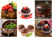 Set chocolate pastries - cake, muffin, cupcake and roll — Stock Photo