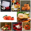 Set Halloween pumpkin, treats and table setting — Stock Photo #55692727