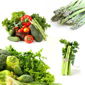 Set various green vegetables, celery and asparagus — Stock Photo