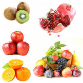 Set various berries and fruits (apples, figs,kiwi, pomegranate and citrus ) — Stock Photo