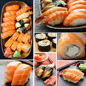 Set different kinds of Japanese sushi and rolls — Stock Photo