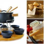 Cookware set for fondue , different cheese and a basket of bread — Stock Photo