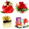 Set Christmas New Year gifts on a white background — Stock Photo #56157003
