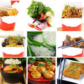 Set menu of Chinese food and ingredients — Stock Photo