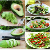 Set salads with fresh avocado and fruit on the board — Stock Photo