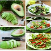 Set salads with fresh avocado and fruit on the board — Foto de Stock