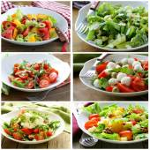 Collage menu salads with vegetables, cheese and olives — Stockfoto