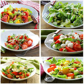 Collage menu salads with vegetables, cheese and olives — Stock Photo