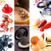 Collage collection decorative cosmetics and makeup brushes — Stock Photo