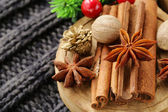 Spices anise, cinnamon, nutmeg on warm knitted background — Stock Photo