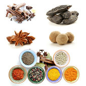 Collage of various spices (cinnamon, anise, nutmeg) — Stock Photo