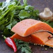 Fresh salmon (red fish) fillet with herbs, spices and vegetables - healthy food — Stock Photo #57147741