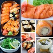 Collage menu of Japanese cuisine - miso soup, sushi, sashimi, rolls, salad Chuka — Stock Photo