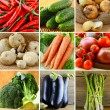 Collage of different vegetables (eggplant, onions, carrots, tomatoes, peppers, asparagus) — Stock Photo #57640671