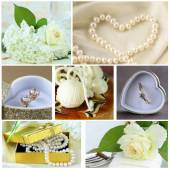 Collage of wedding accessories (ring, cake, bouquet of flowers, earrings, pearl) — Stock Photo