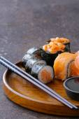 Menu of assorted sushi with salmon - Traditional Japanese cuisine — Stock Photo