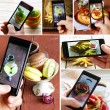 Collage smartphone shot food photo with different food — Stock Photo #58425475