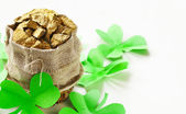 Green clover leaves and a bag of gold - symbol of St. Patrick's Day — Stock Photo