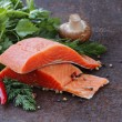 Fresh salmon (red fish) fillet with herbs, spices and vegetables - healthy food — Stock Photo #59263967