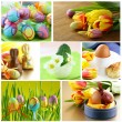 Collage Easter symbols - colored eggs, flowers and decorations — Stock Photo #59338687