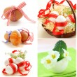 Collage Easter symbols - colored eggs, flowers and decorations — Stock Photo #59338699